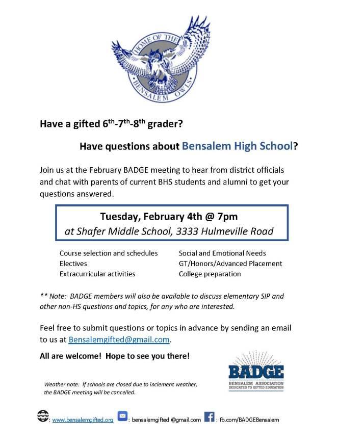 BADGE BHS meeting flyer