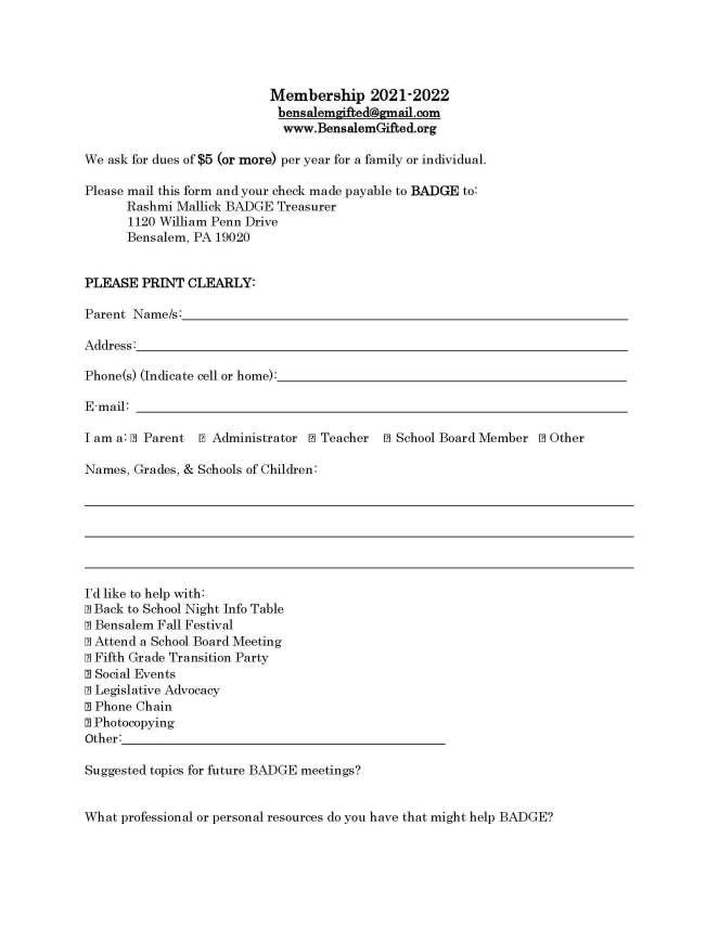 BADGE membership form 2021-22